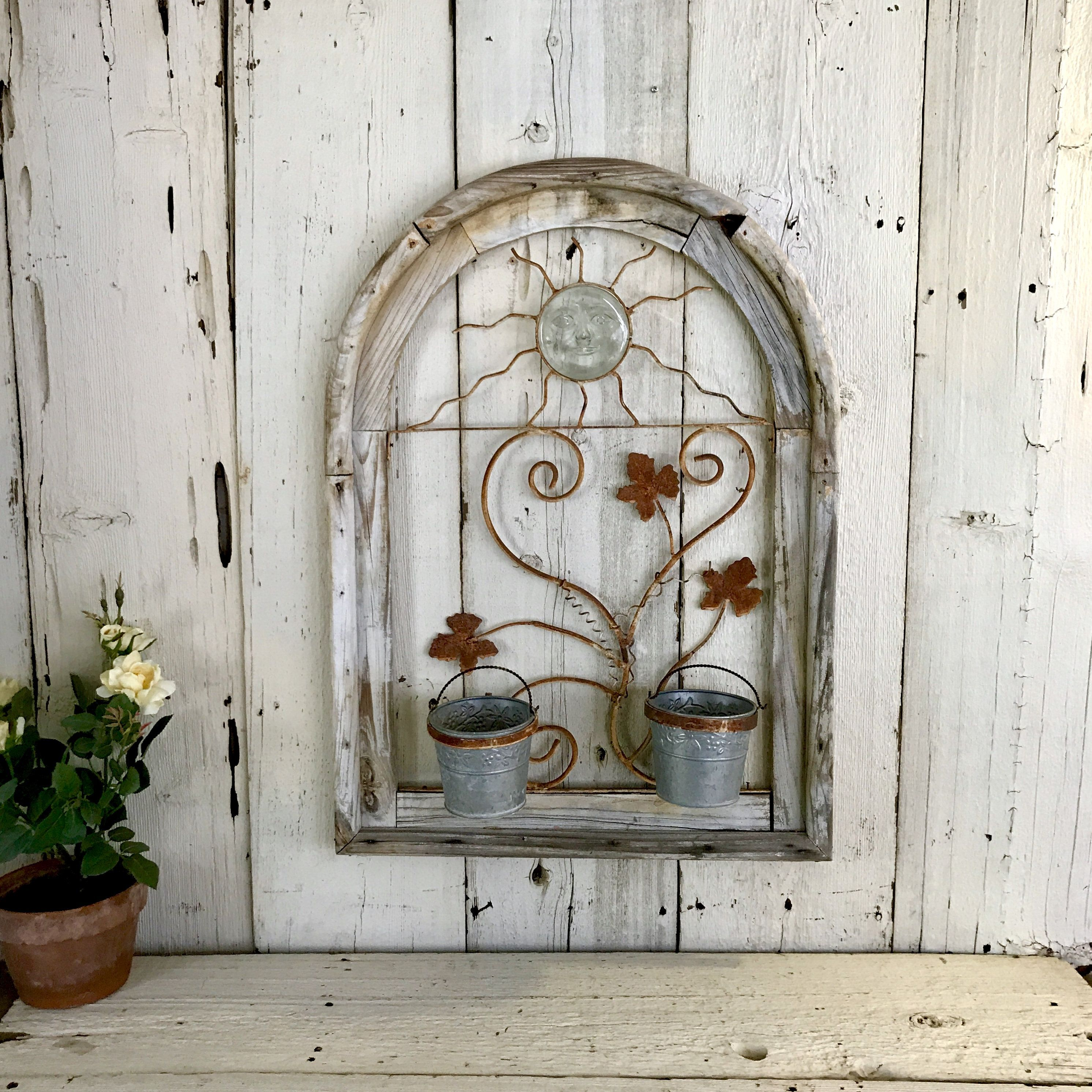 Wood And Wrought Iron Wall Plant Holder Weathered