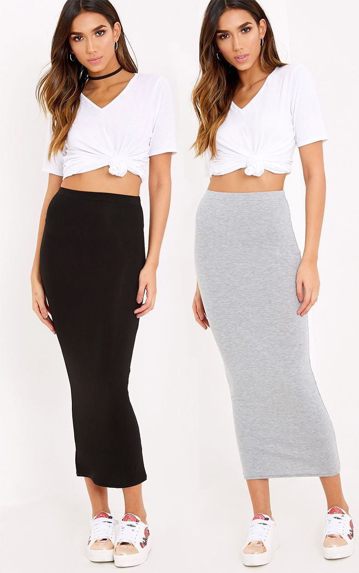 a9e0cdadc948 Basic Black & Grey Jersey Midaxi Skirt 2 Pack in 2019 | Products ...