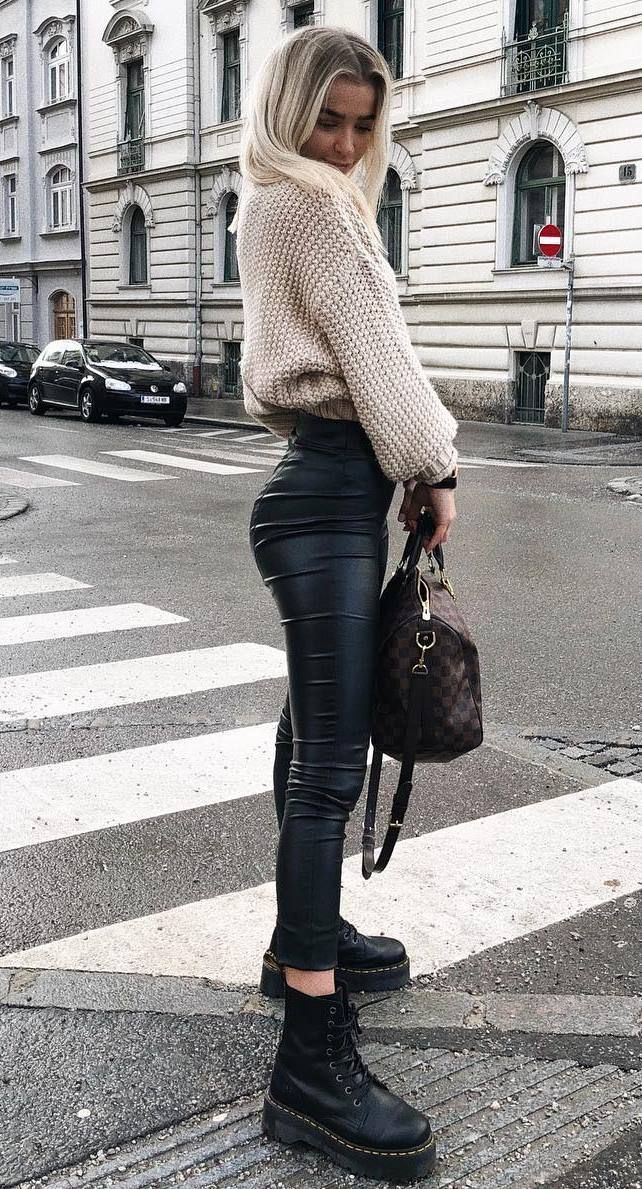 09f2f1c7134 fall outfit idea knit high neck sweater + leather skinnies + bag + boots