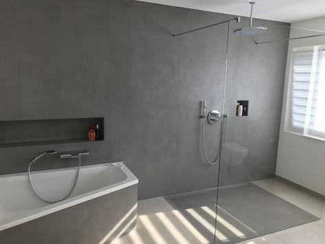 Fugenloses Bad realisiert mit Carameo #homesweethome #fugenlos - badezimmerwände ohne fliesen