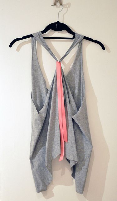 Oversized Cropped Tank or Vest DIY -- cut a t-shirt like this. all you need are scissors and a ribbon!