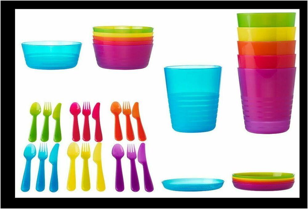 Ikea Kids Children 36 Pc Tableware Set Cup Bowl Spoon Party Bpa Free Kalas New Ikea Tableware Set Ikea Kids Plastic Plates