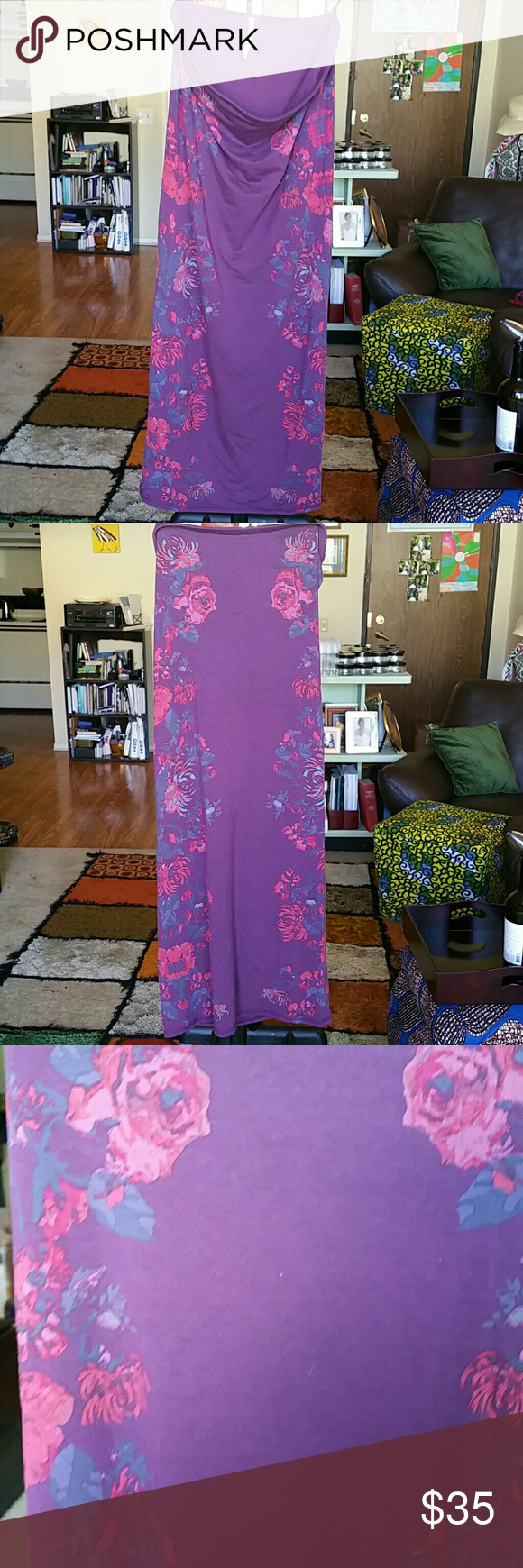 "Free People flower power bodycon tube dress/skirt Can use this as a strapless dress or a skirt. Up to you to decide how to use this 32"" long beauty! Width is 14"" across, relaxed. Material is rayon/spandex mix. Color is a burgundy/merlot color. Free People Dresses"