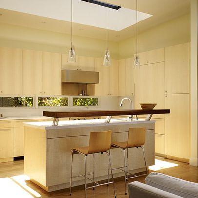 Wood Raised Countertop Breakfast Bar Kitchen Bar Design Kitchen Design Unique Kitchen Pendant Lights
