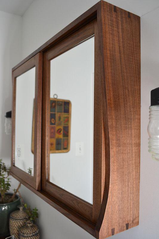 Sliding Door Custom Walnut Medicine Cabinet
