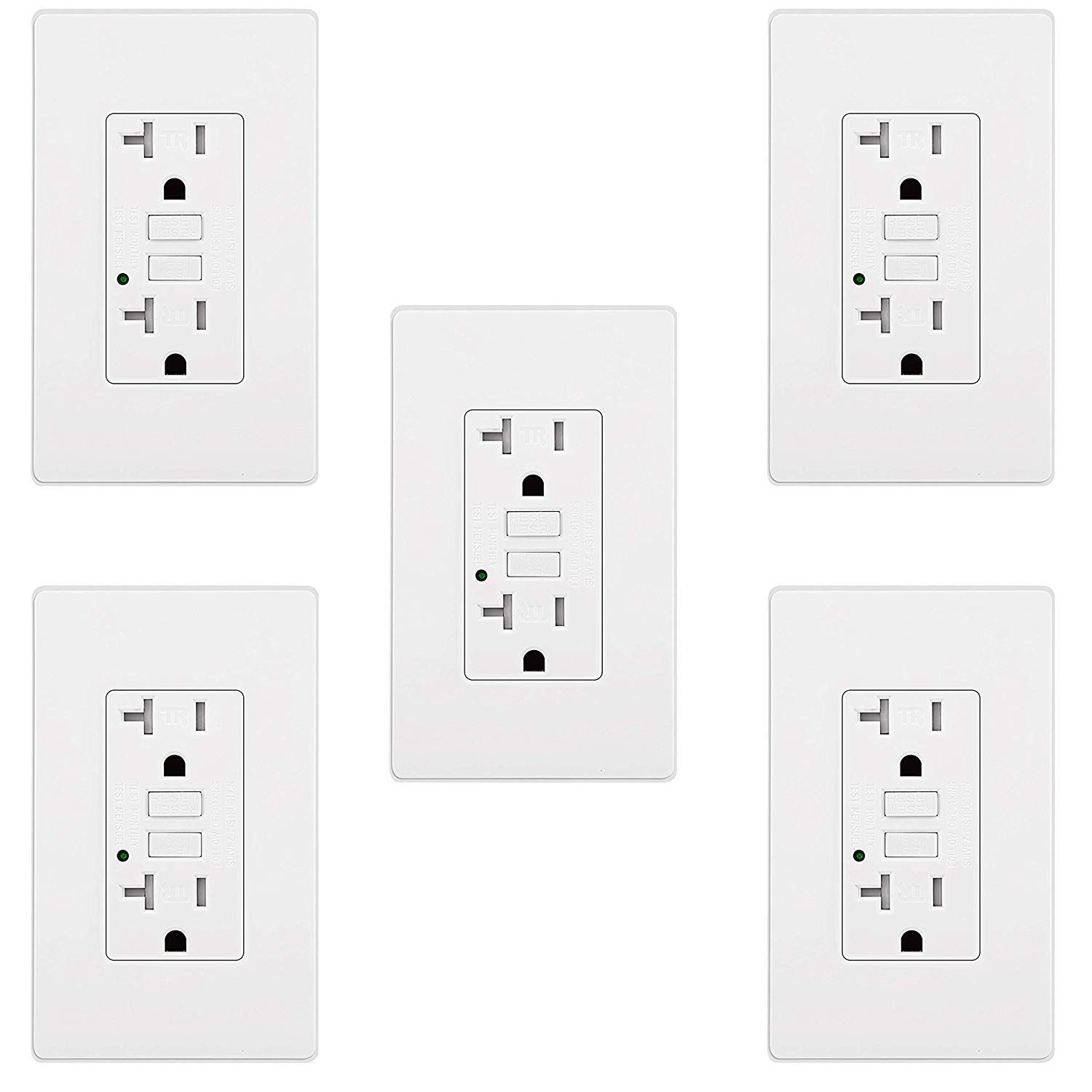 5 Pack Bestten Gfci Receptacle Tamper Resistant Outlets 20amp 125volt Led Indicator 2 Types Wall Plates And Screws Included Etl Gfci Receptacles Tampers