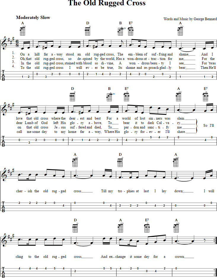 Free Banjo Sheet Music For The Old Rugged Cross With Chord Diagrams, Lyrics,  And Tablature.