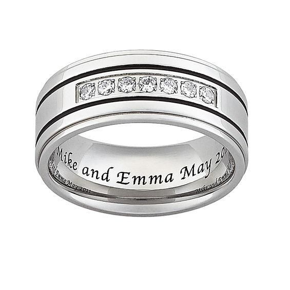 Zales Mens Diamond Accent Double Groove Wedding Band (1 Line) f1x9Vcw22