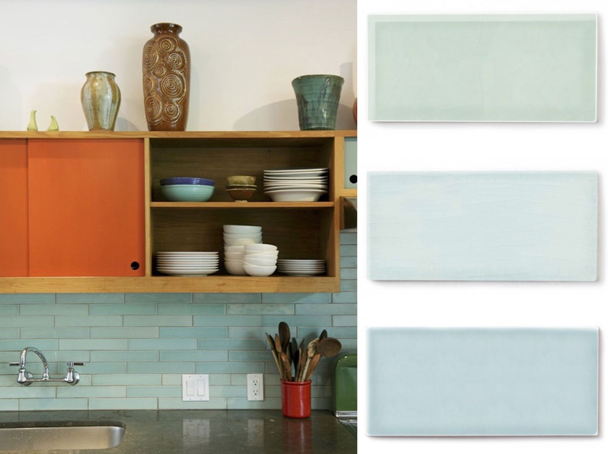 Color Spotlight Moonstone Aqua And Glacier Bay Fireclay Tile Fireclay Tile Blue Kitchen Tiles Blue Backsplash Kitchen