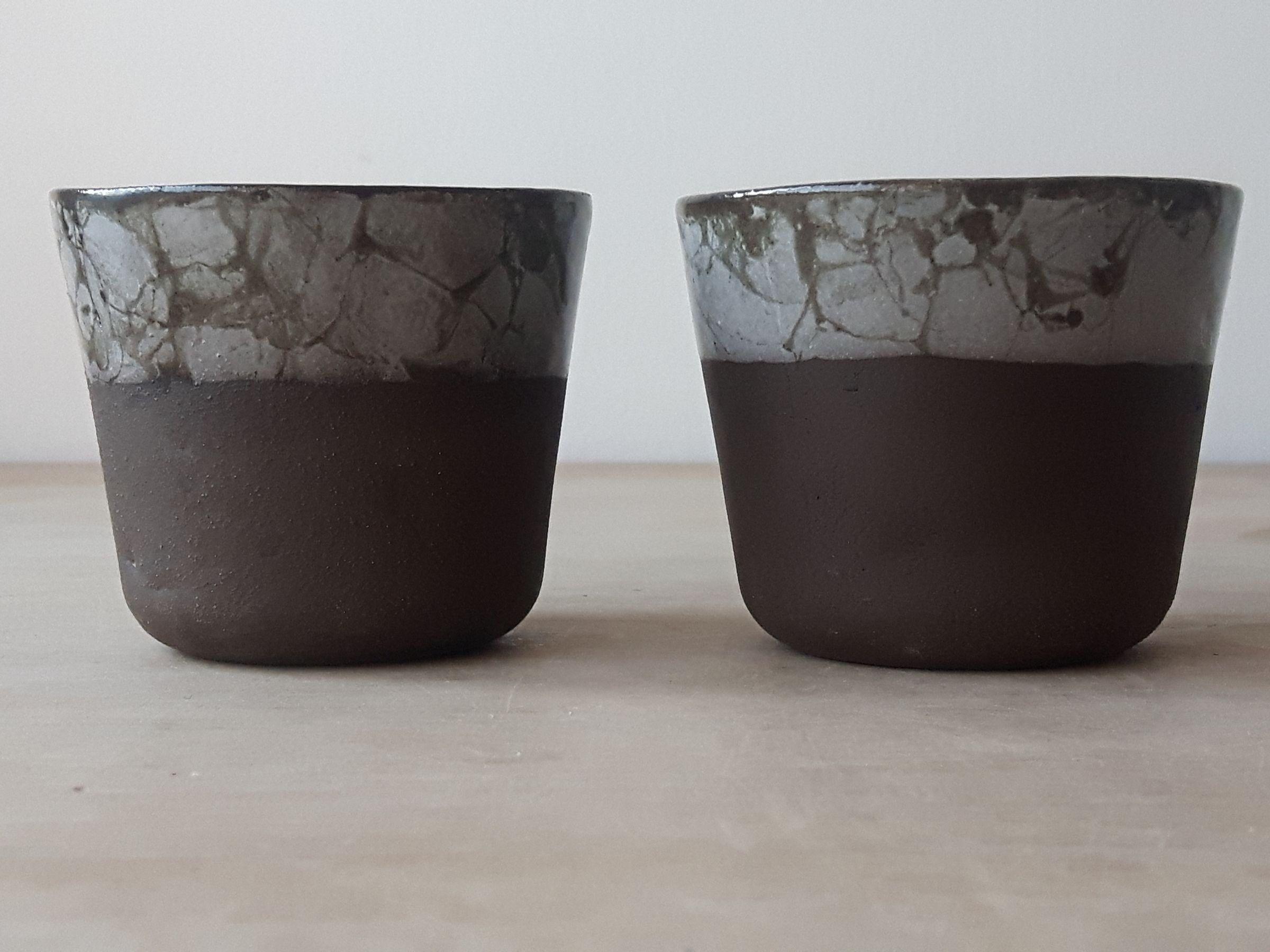2x Modern Espresso Cups No Handles Set Unique Glaze Coffee Mug