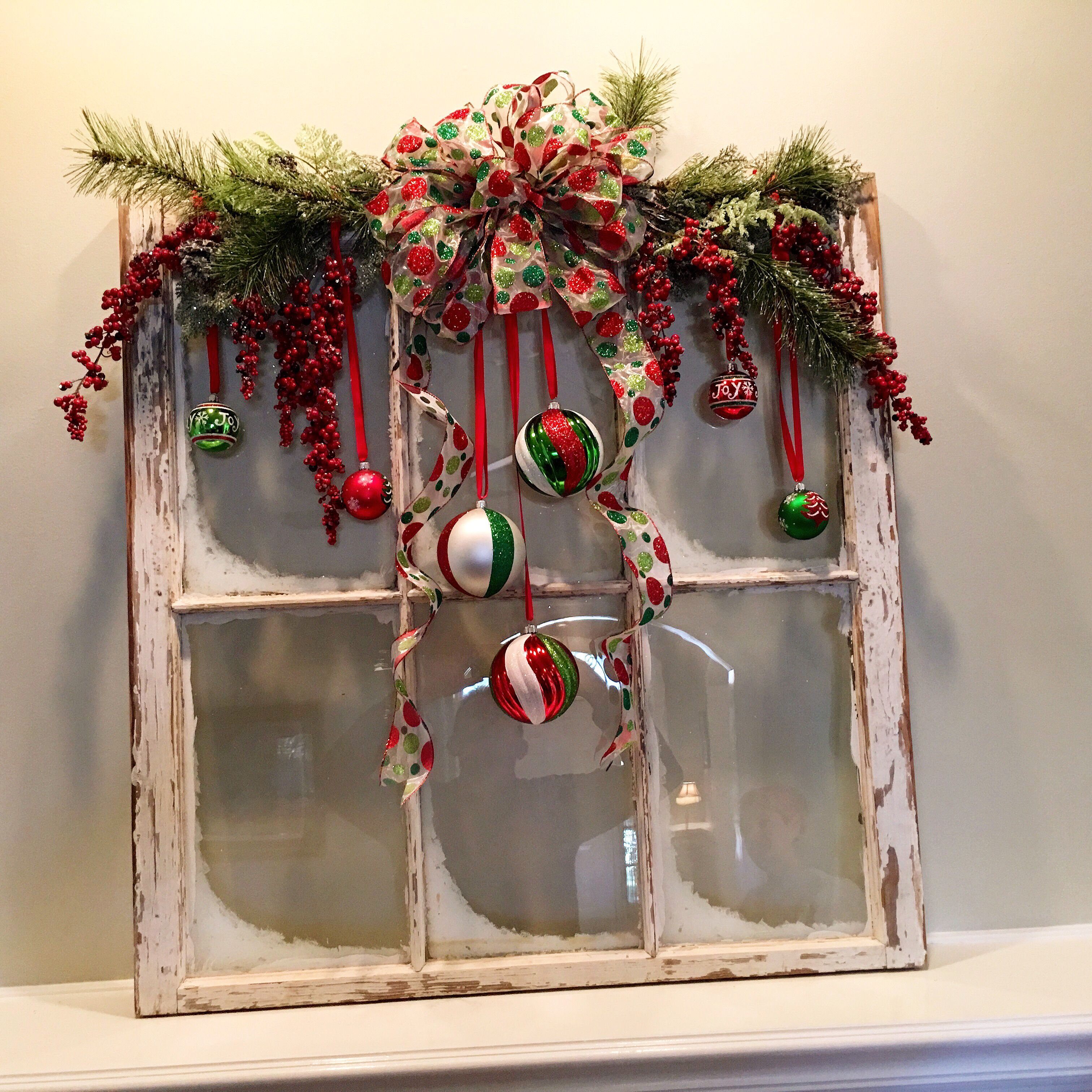 Window Pane Decoration Ideas.Christmas Diy Vintage Window Red And Green Created By My