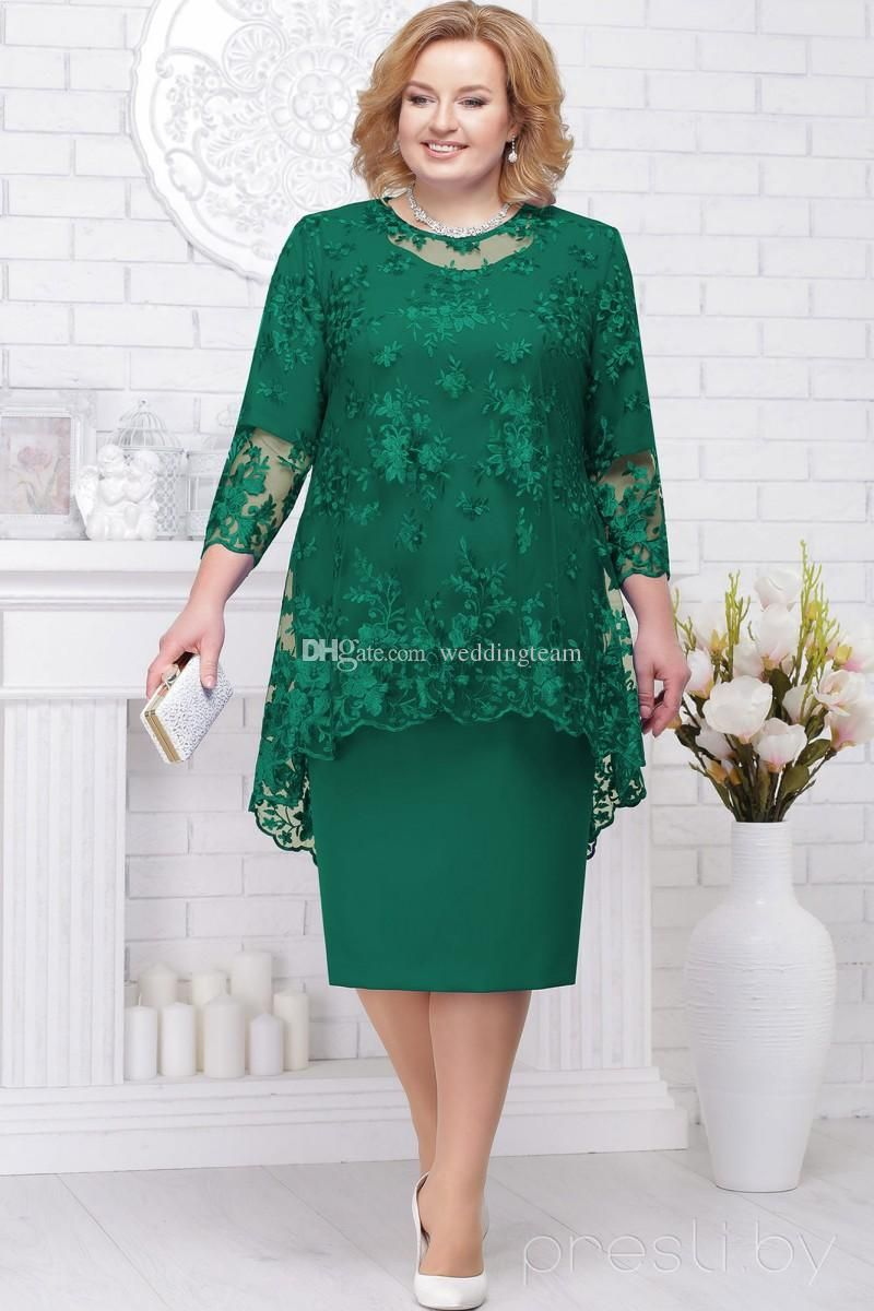 Hunter Long Sleeves Lace Mother Of The Bride Dresses Sheath Two Pieces Wedding Guest Dress Knee Length Plus Size Evening Gowns The Mother Of The Bride Dress The Mother Of The Bride Dresses From Weddingteam, $113.62| DHgate.Com