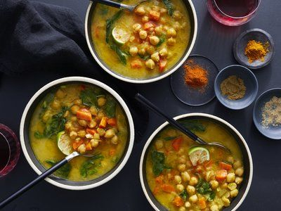 Moroccan Chickpea, Carrot, and Spinach Soup #spinachsoup
