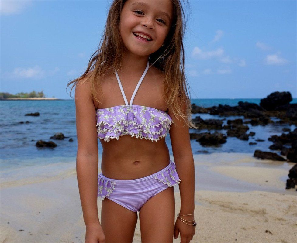 Kids Baby Girls Floral Bikini Suit Swimsuit Swimwear Bathing Swimming Clothes Children Tassle Ruffle Purple