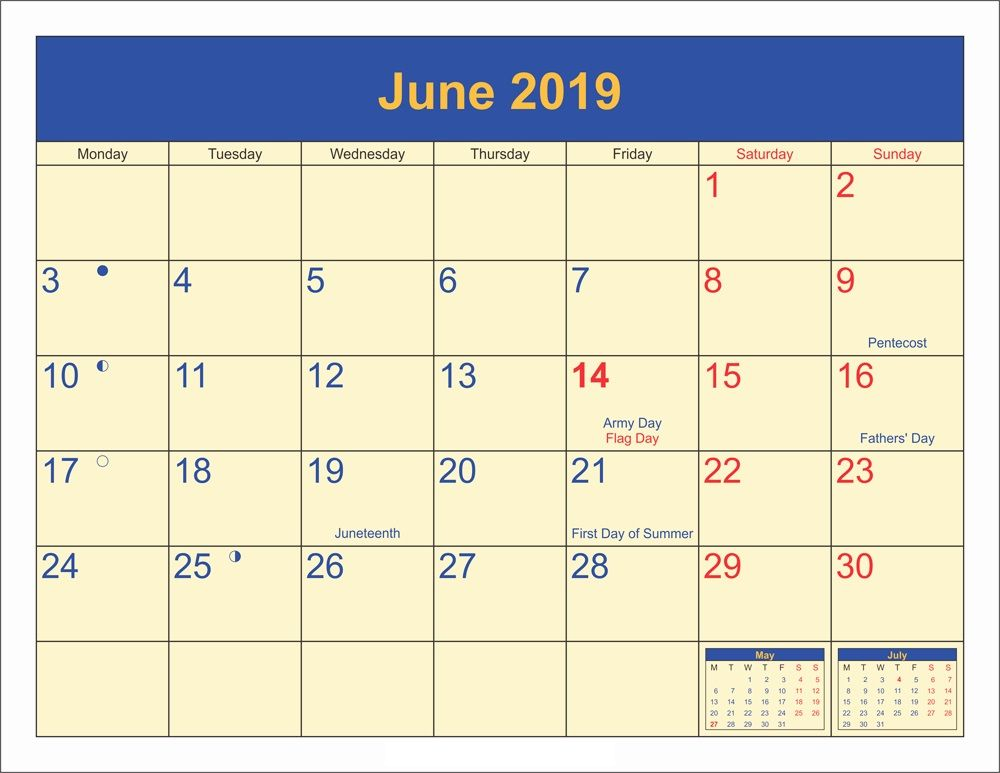 June 2019 Moon Phases Calendar With Holidays June June2019