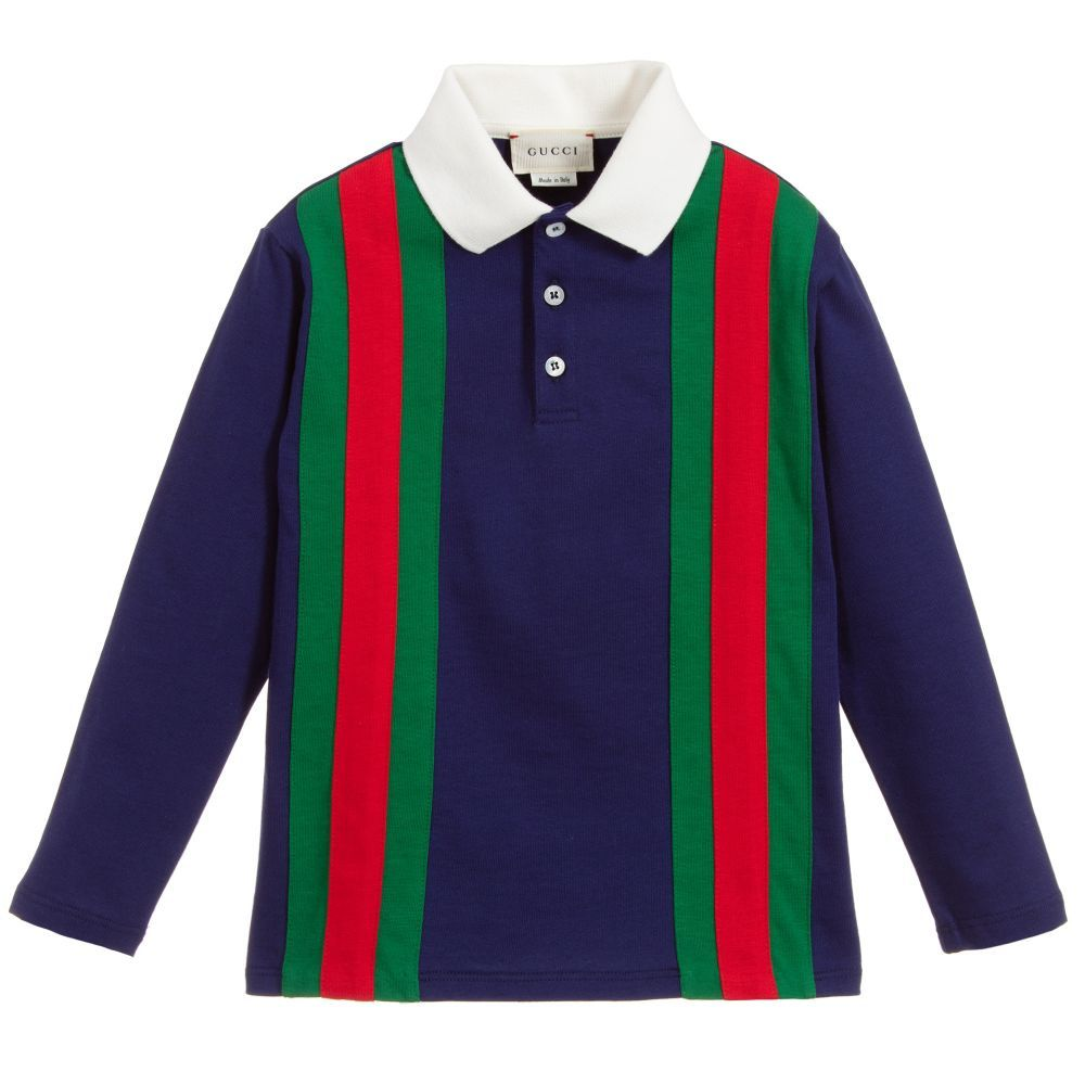 d29747e0f8a6 Boys royal blue long sleeve polo shirt by luxury brand Gucci. It is made in