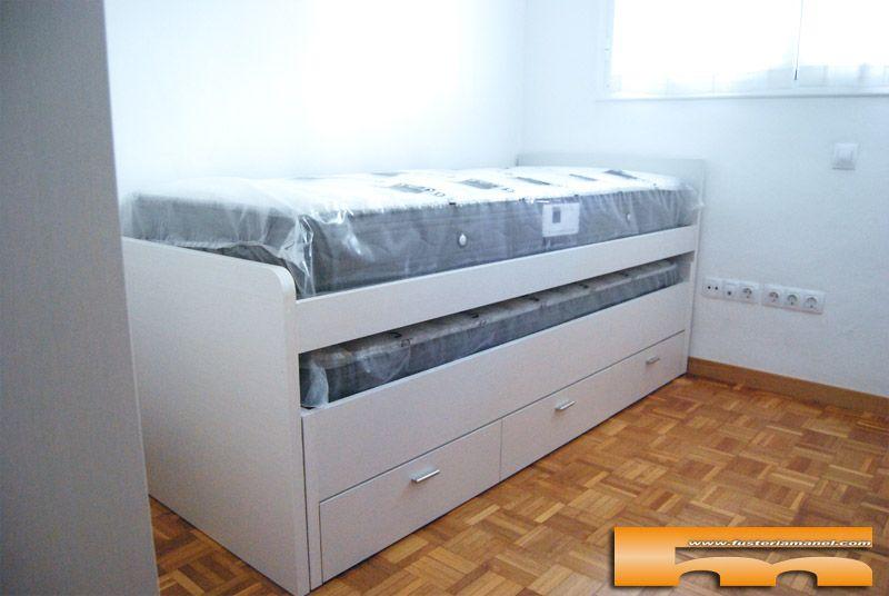 Cama compacta con armario escritorio estanter a for Cama infantil compacta