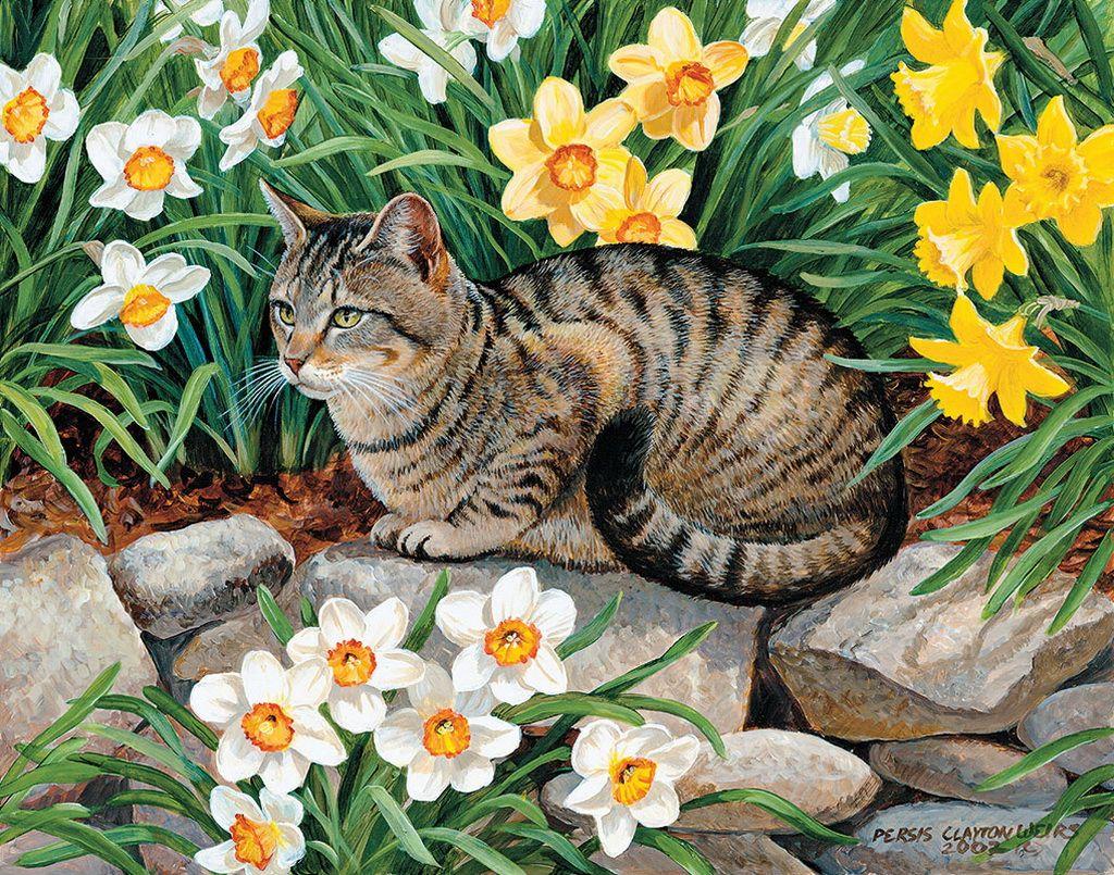Днем, картинки для детей с животными и цветами