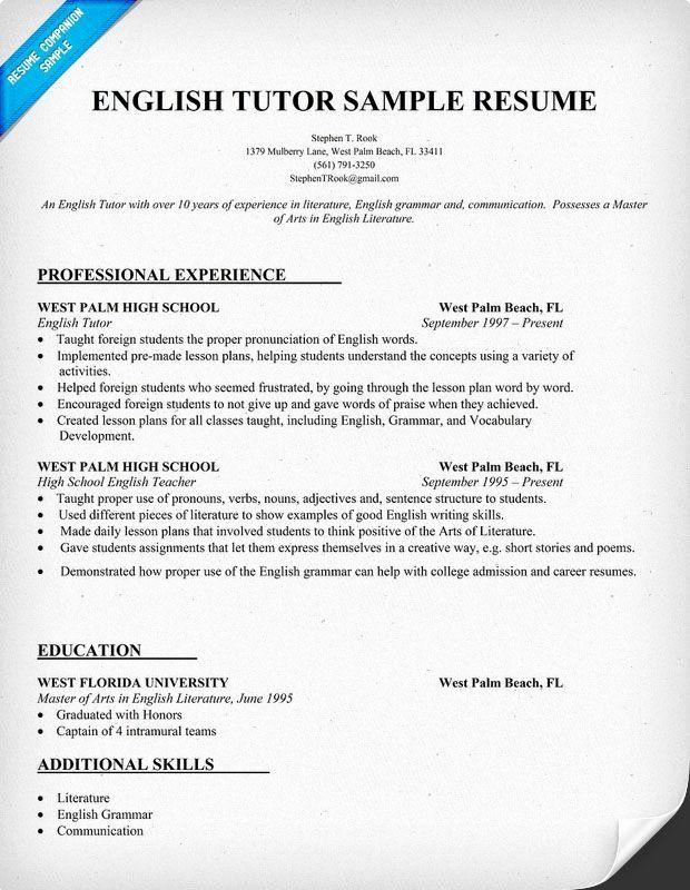 Esl Teacher Job Description Resume Awesome Resume Example For English Tutor Teacher Teachers Tut In 2020 Teacher Resume Template Teacher Resume Teacher Resume Examples