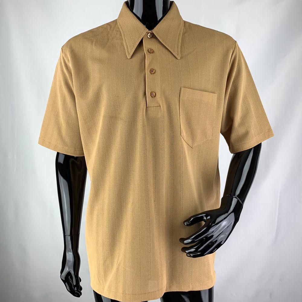 cb11893ff8 Vintage 70s Jantzen Mens XL Gold Polyester Short Sleeve Polo Shirt | eBay
