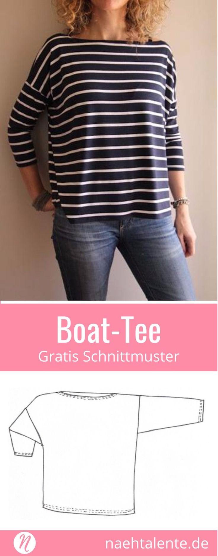 Oversized Shirt mit U-Boot-Ausschnitt - gratis Schnittmuster Tipp | Nähtalente
