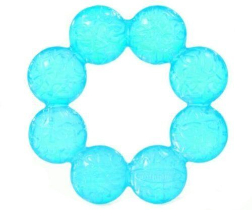 """Blue Water Teether Baby Toy by INFANTINO. $4.20. The Water Teether Blue Baby Toy from Infantino Toys is the textured teether that features smooth rounded edges and is filled with cooling water to soothe sore gums. Measures 4.5""""H x 1""""D x 4.5""""W."""