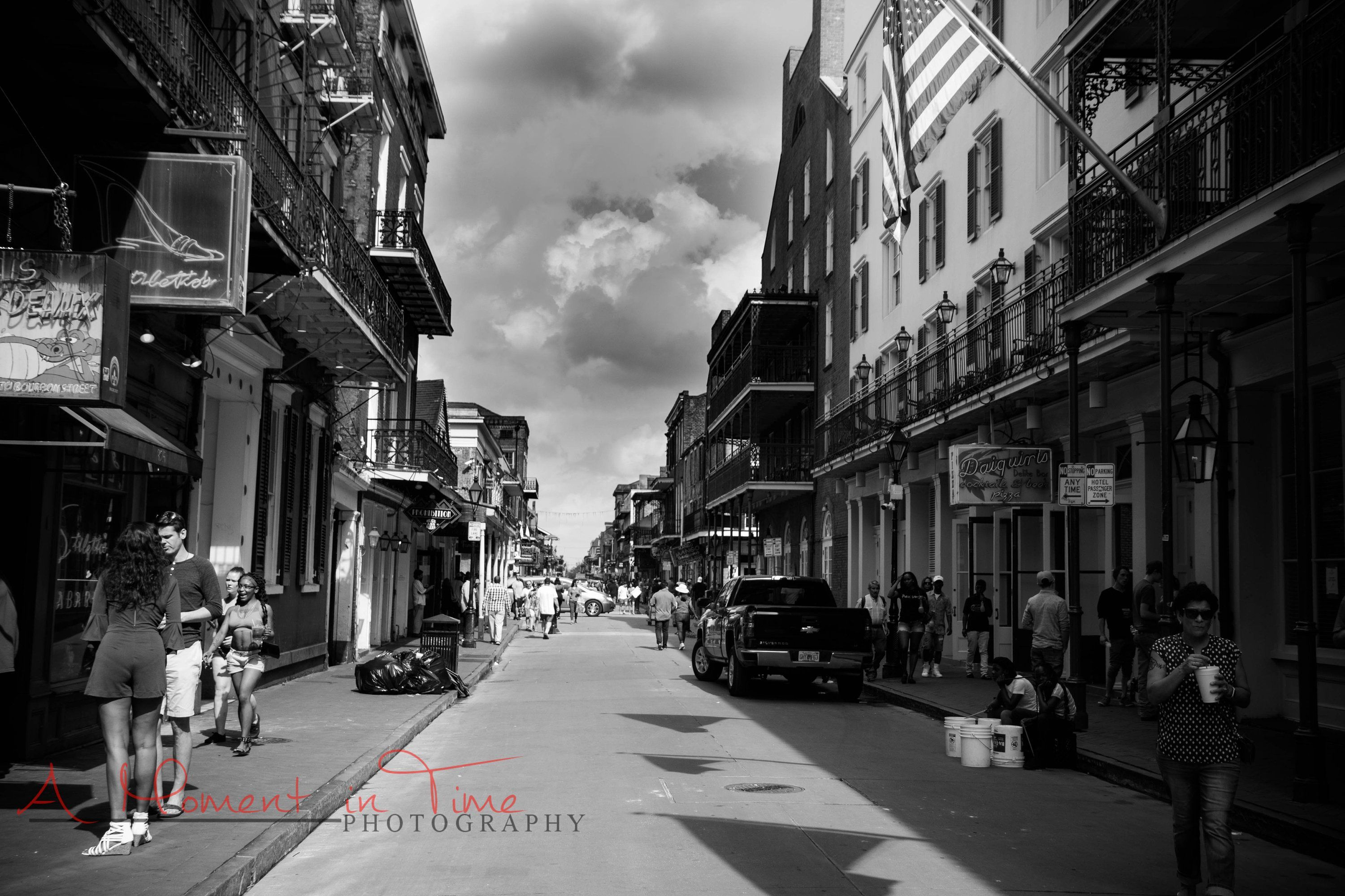 Bourbon street new orleans photography black and white wall art