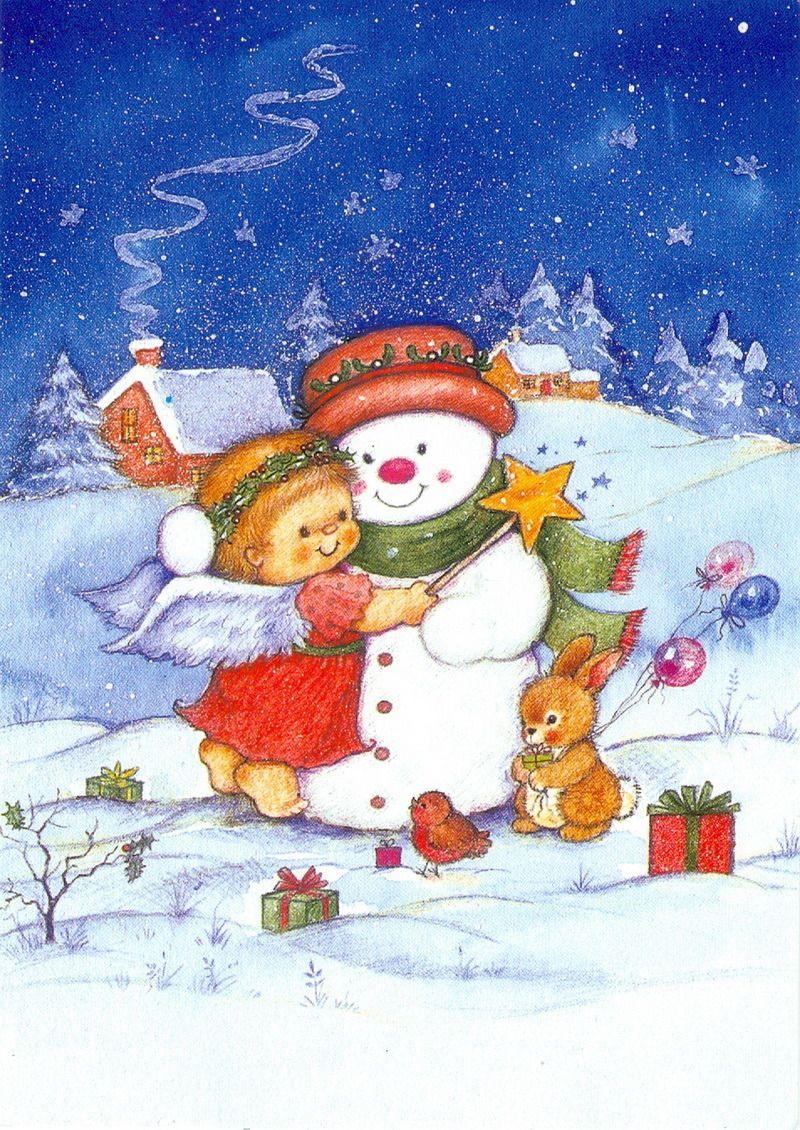 Красивые для, рождественские открытки для детей
