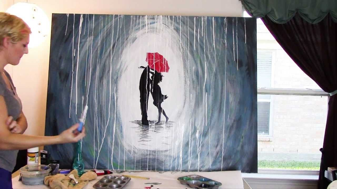 How To Paint A Rainy Day Scene With A Silhouette Of A Couple With