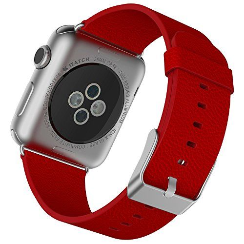 Apple Watch Strap, JETech 38mm Büffelleder Replacement Wrist Band mit Metallschließe Uhrenarmband für Apple Watch 38mm (Rot) - http://schmuckhaus.online/jetech/rot-apple-watch-strap-jetech-38mm-bueffelleder