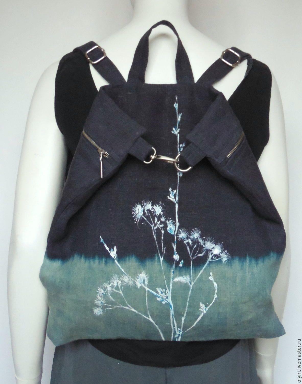 432cda24af54 Купить Рюкзак льняной Белые травы луговые - синий, рюкзак, рюкзачок, рюкзак  женский