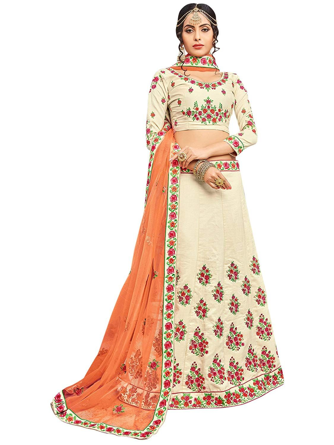 43353334b0f Manvaa Banarasi Silk Women S Embroidered Lehenga In Cream Color  Amazon.in   Clothing   Accessories