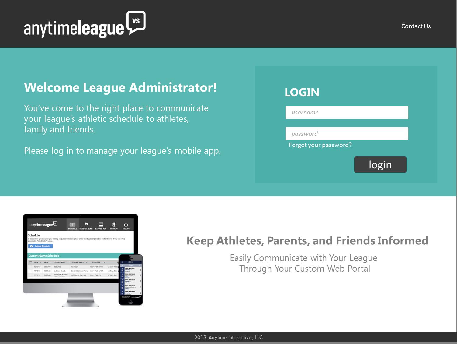 Anytime League Admin Portal Login. Portal, Mobile app, App