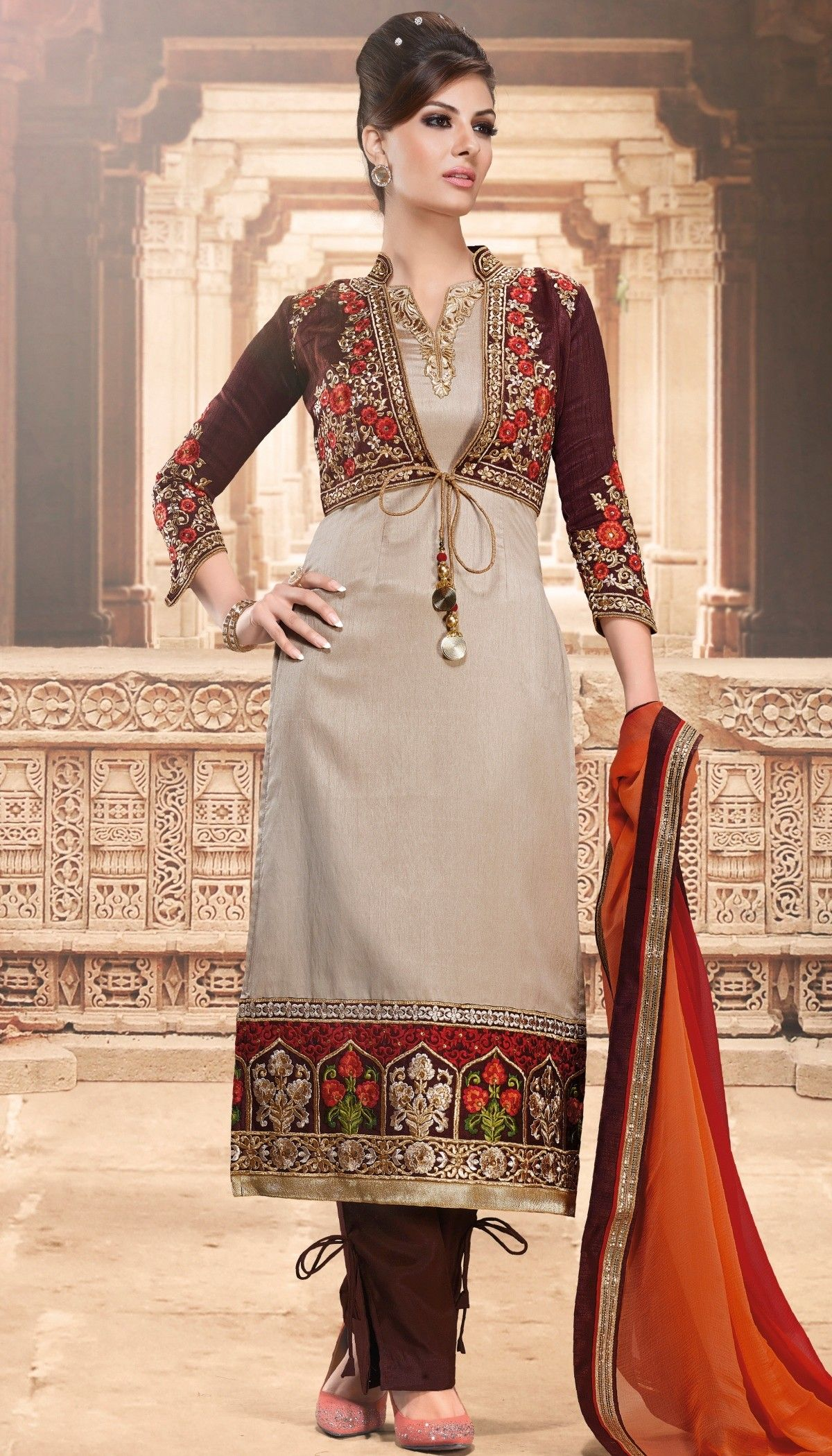 Brown Gray Art Silk Resham Stone Embroidered Jacket Style Straight