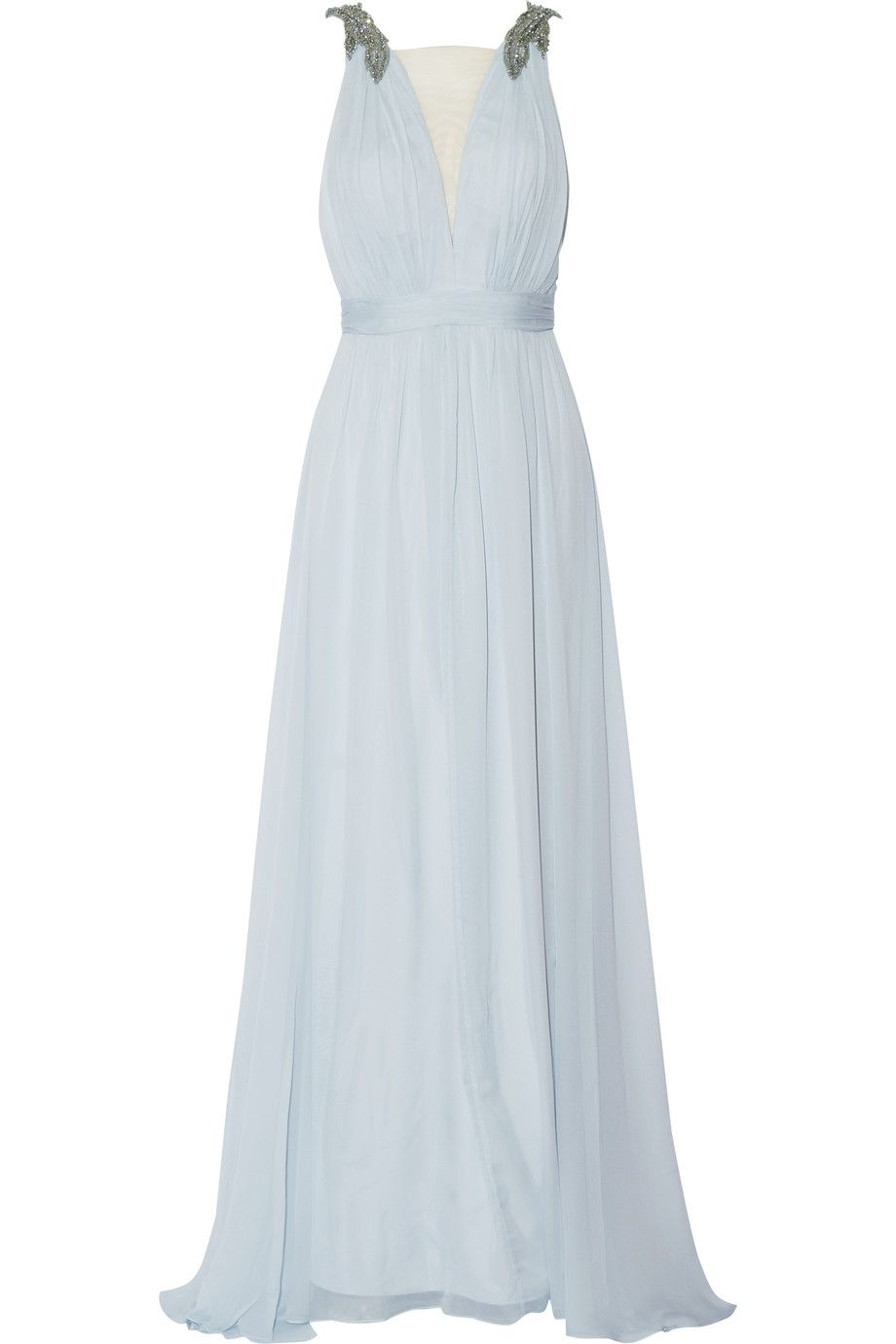 Shop on-sale Marchesa Notte Embellished silk gown. Browse other ...