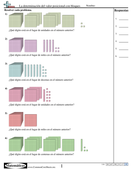 La determinación del valor posicional con bloques worksheet ...