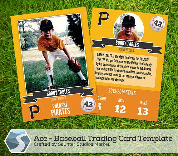Ace Baseball Trading Card 2 5 X 3 5 Photoshop Etsy Trading Card Template Baseball Card Template Baseball Trading Cards