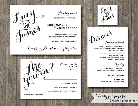 High Quality Printable Wedding Invitation Set   Invite, RSVP Card, Details Card And  Monogram   Lucy