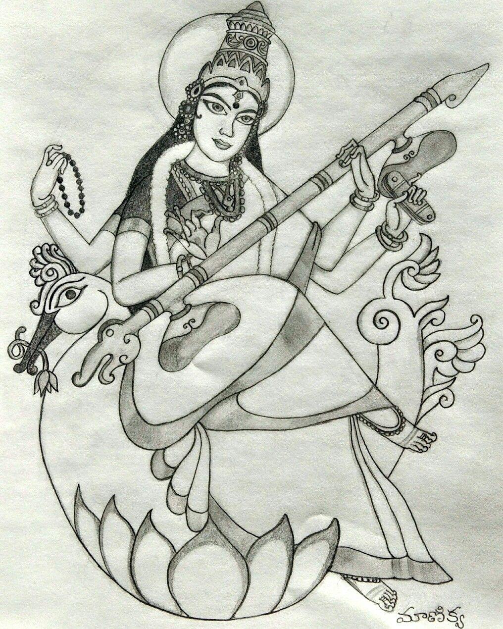 Goddess saraswati hinduism goddess pencilsketch learn to sketch hinduism