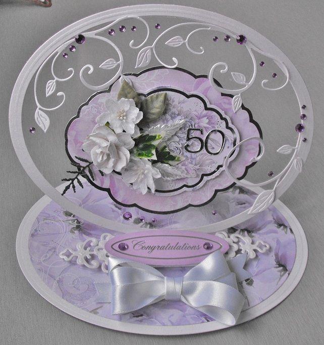 Handmade  cameo style Ladies 50th Birthday card boxed £5.99