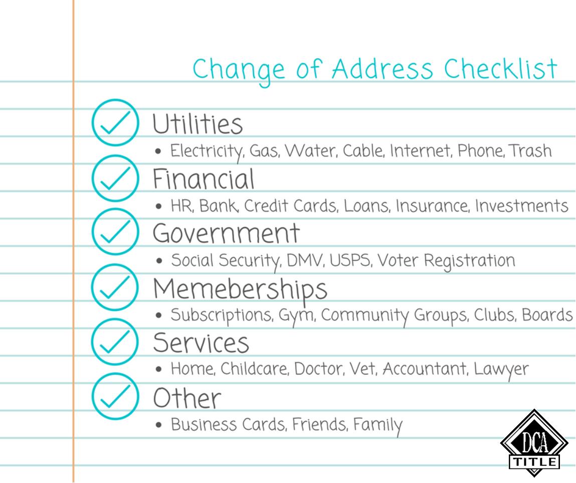 Change Of Address Checklist Happy Moving Day Change Of Address
