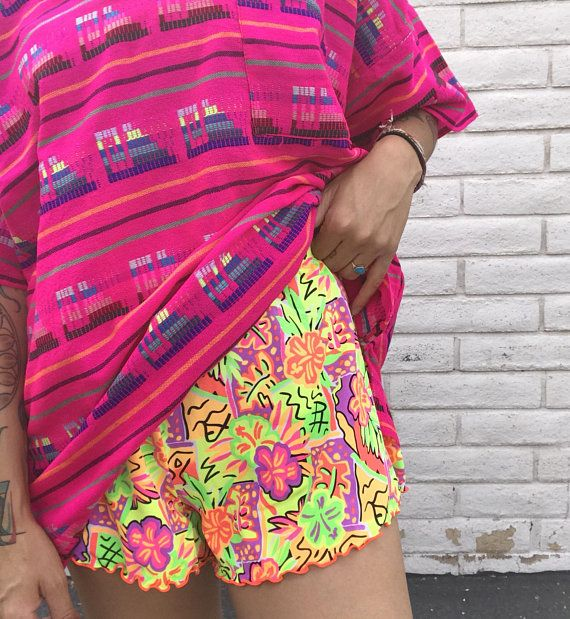 0f50d760fc9f VINTAGE 90s   Neon Print High Waist High Cut Shorts