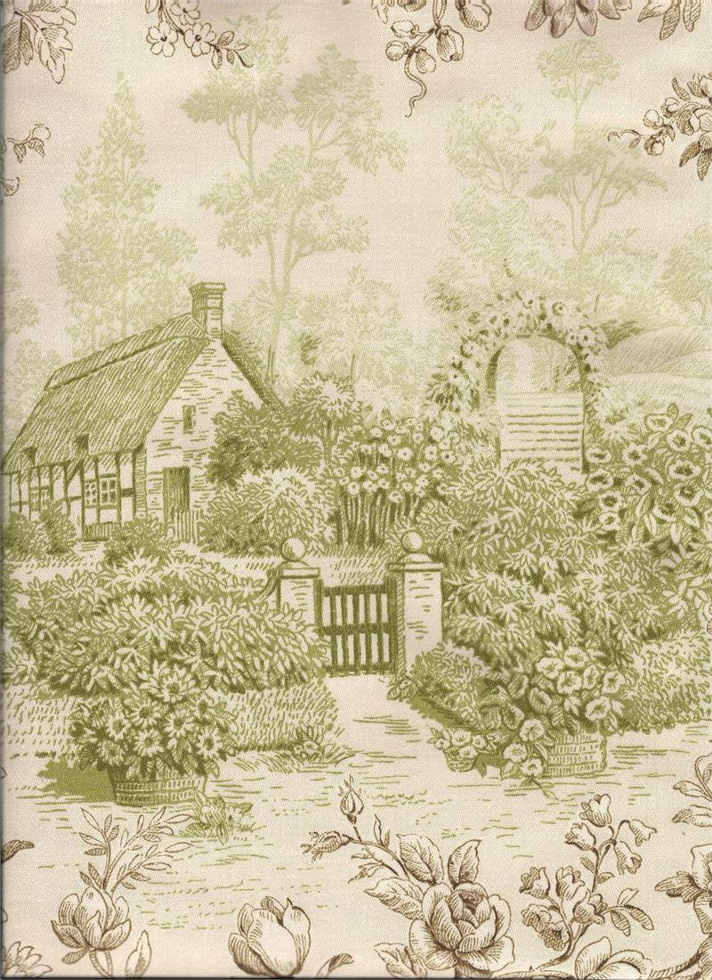 Kent garden in grass color depicts a farm/pastoral scene