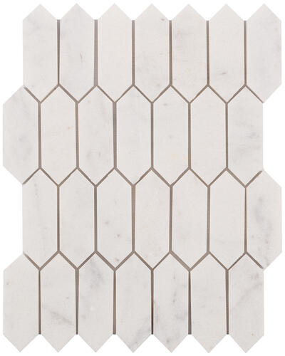 Ellis Fisher Bianco Polished Marble Picket 10 X 13 Stone Mosaic Tile In 2020 Marble Mosaic Tiles Stone Mosaic Tile Marble Mosaic