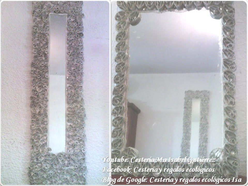 Espejo decorado con tubos de cart n higi nico reciclaje - Espejo de papel ...