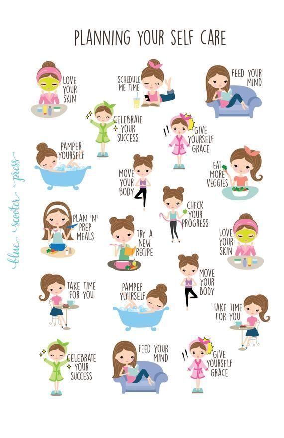 Planning for Self Care Stickers. Light Skin and Brunette Girl. 19 Planner Stickers for Erin Condren,
