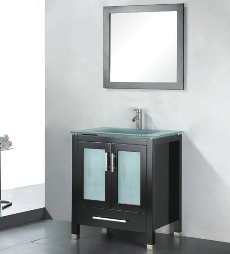 Amara 30 inch Modern Glass Top Espresso Bathroom Vanity | Master ...