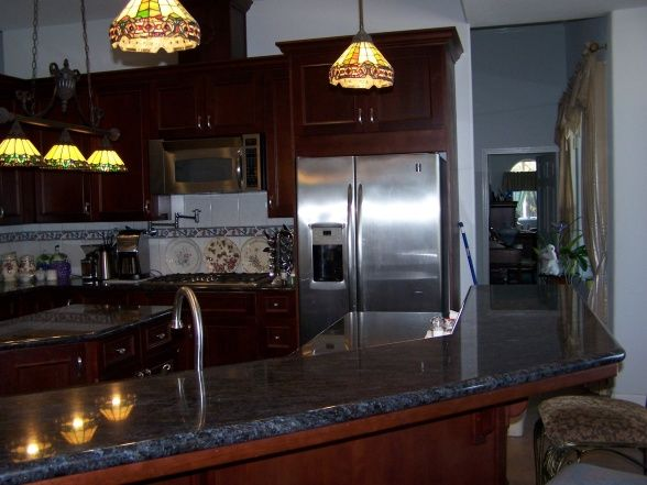 Best Cherry Cabinets With Blue Grey Walls Kitchens Kitchen 400 x 300