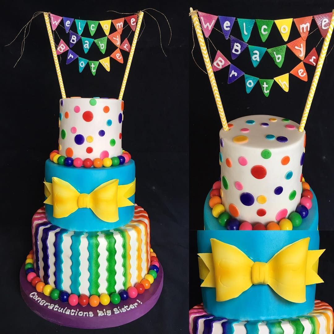 Multi Color Birthday Cake Special Occasion Cakes Pinterest