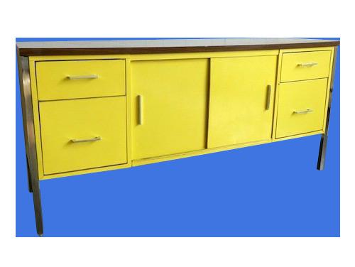 steelcase chrome leg storage credenza | vintage metal credenza